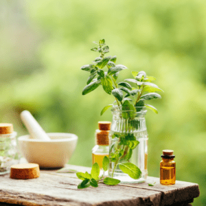 essential oil on table for mosquito control